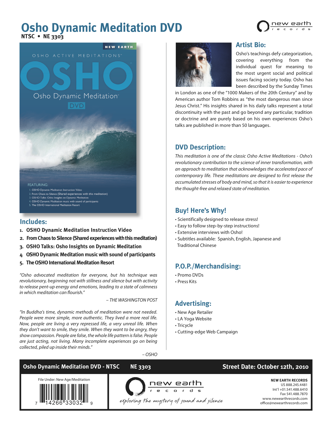 Osho Dynamic Meditation DVD - New Earth Records